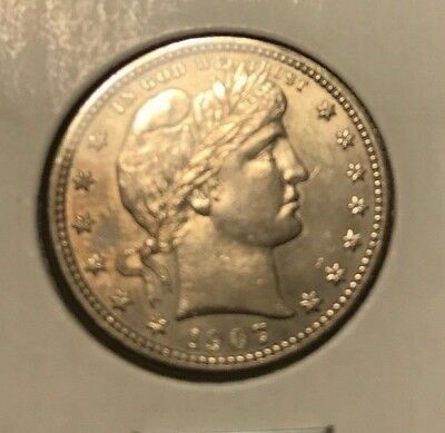 1907 Barber Silver Quarter Dollar. From Family type set. marked MS