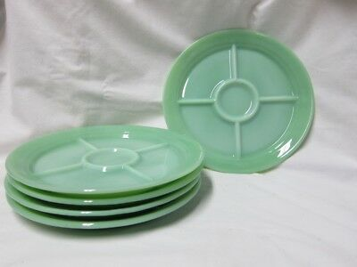 5 Fire King 5 Section Jadeite Plates- Mint