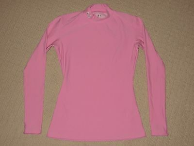 Womens Under Armour Compression Long Sleeve LS Mock Neck Shirt MD Medium Pink
