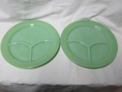 2 Fire King Restaurant Ware Divided Plates-Mint