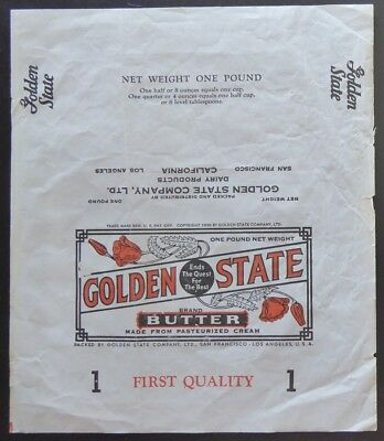 "1938 Vintage Authentic Golden State Butter Wrapper 8 1/2"" x 10"" California"