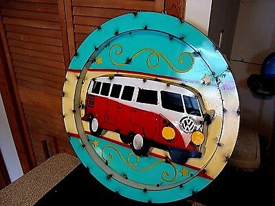 "Large Vintage Metal Volkswagen Bus Sign  20"" VW"