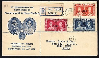 1937 Geo Vi Coronation Fdc From Niue To Hong Kong W/#70-72. Registered, 5/12/37
