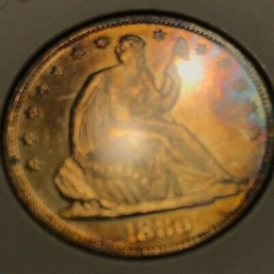 1880 Seated Liberty Silver Half Dollar. 50c . PROOF coin. PR