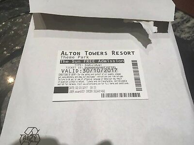 Alton Towers Single Ticket 30th Oct