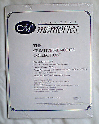 "One Pack Creative Memories  8"" x 10"" Page Protectors 15 Sheets Protects 30 Pages"