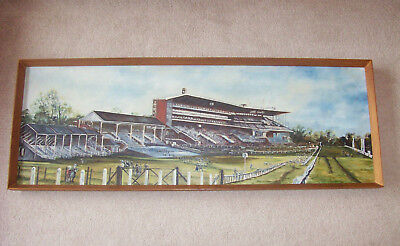 Lovely Vintage Oil on Board Painting of Ascot Race Course Grandstands