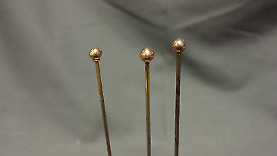 Antique Collection Of 3 9ct Gold Topped Hat Pins