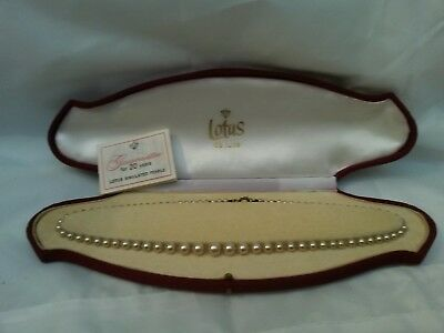 Vintage Boxed Lotus Simulated Pearl Necklace 163 5 00