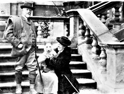 Photographic Celluloid Negative Lord And Lady Middleton & Aristocratic Dog 1911