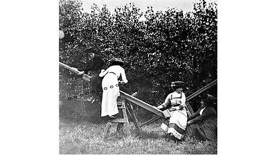 PHOTOGRAPHIC GLASS SLIDE LADIES PLAYING ON SEE - SAW BROMLEY KENT c1905 SUPERB