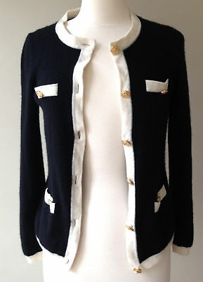 Bloomingdale's Women's Cashmere Cardigan, Black w/ Ivory Trim + Gold Buttons, M