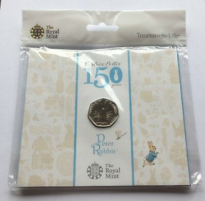 2016 Royal Mint Peter Rabbit Brilliant Uncirculated Fifty Pence Piece 50p Pack