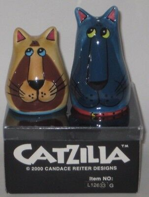 PAIR of Comical CATS by 2000 CANDACE REITER Designs CATZILLA Pottery SALT PEPPER