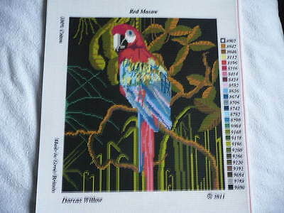 Red Macaw Printed Tapestry/Needlepoint Canvas By Dorcas Willow.New.