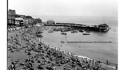 PHOTOGRAPHIC GLASS SLIDE BROADSTAIRS BEACH AND HARBOUR KENT c1930's