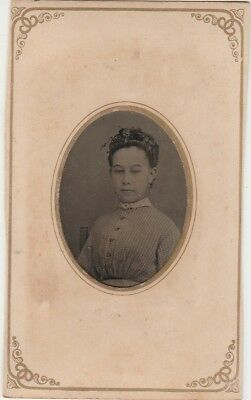 Tintype Cdv Matting Sealed Great Back Ad,floating Gallery,saint Louis,mo.lady