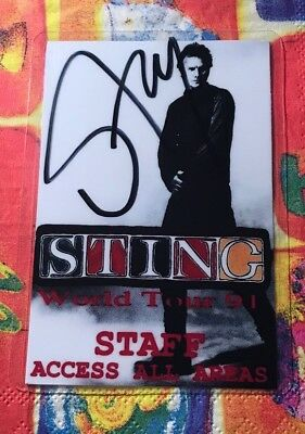 Sting, Staff/Access All Areas Pass! Original Handsigniert! Signed! 1991