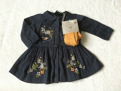 ***BNWT Next baby girl Embroidered dress and tights set 3-6 months***