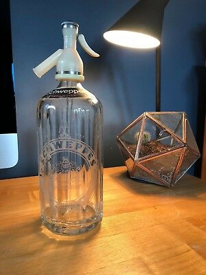 Vintage Schweppes Soda Water Bottle Etched Glass No61
