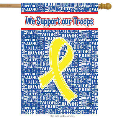 "Support Our Troops US Standard House Flag by Toland 28/"" x 40,/"" Yellow Ribbon"