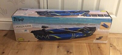 Crivit inflatable kayak 2 man/person with oar - brand New