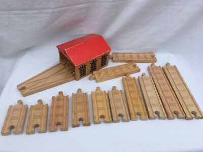 Double Engine Shed & Straight Track Bundle For Brio Thomas ELC wooden Train Sets