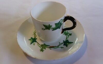 Minton coffee cup and saucer ivy raised decor green white antique