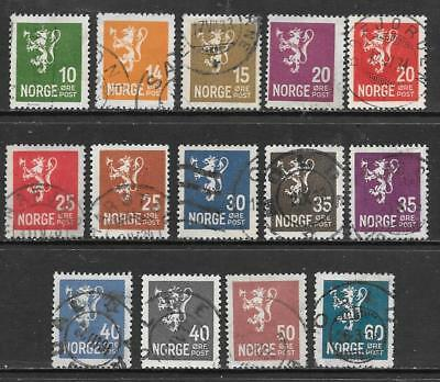 "NORWAY - 1926+  ""Lion"" Definitives - Small format - Set of 14, Used."