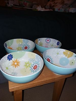 Portmeirion Crazy Daisy 4 X Footed Bowls Cereal Soup Used