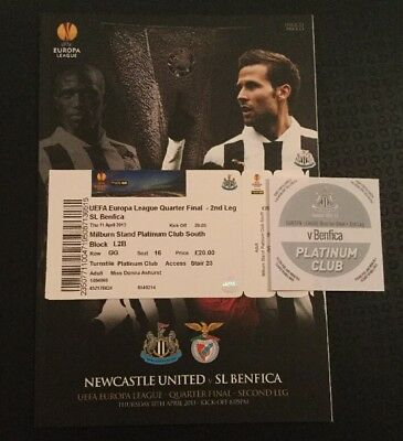 Newcastle United v Benfica 11/04/13 Europa League With Ticket / Sticker