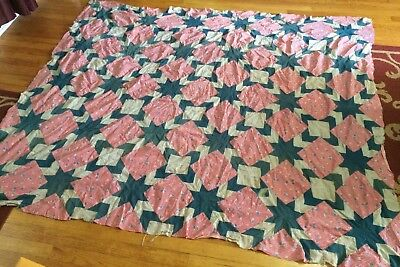 Vintage Antique QUILT TOP, COTTON 8 Point Star. ,HAND SEWN Green