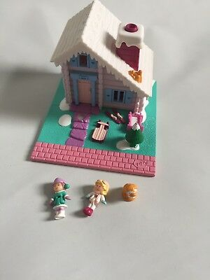 Vintage Bluebird 1993 Polly Pocket Ski Lodge Winter House Chalet 100% Complete