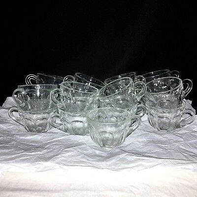 17 Antique Clear Glass Paneled Ribbed Punch Cups w Starburst Bottom Heisey? EUC