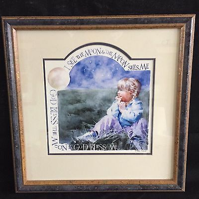 "13"" Sharon Nolin Watercolor Framed I See The Moon Nursery Kids Room Picture"