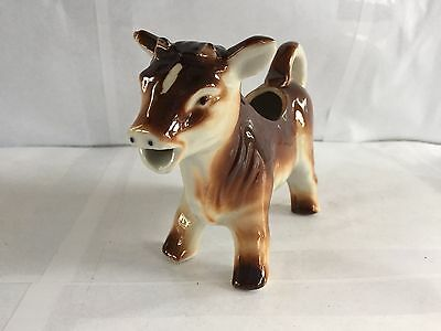 "Vintage Brown Cow Creamer Ceramic Exc Cond 6"" Made Occupied Japan"