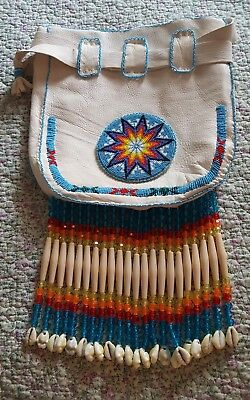 Native American White Leather Beaded Purse/bag