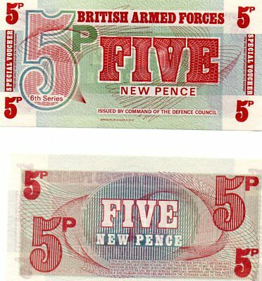 British Armed Forces 5 pence Banknote