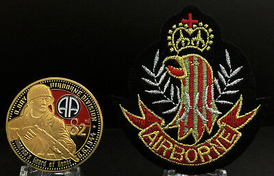 82nd AIRBORNE Division Gold Challenge Coin & Patch American US Army Set Mint