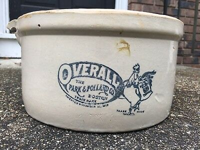 Antique Overall Park & Pollard Co Boston Stoneware, Great Chicken Advertising!