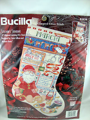 Santa Claus Stitcher's Stocking Counted Cross Stitch Embroidery 83434 Christmas