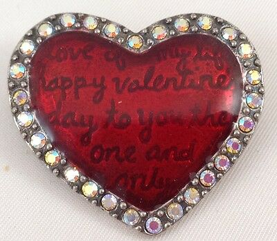 Heart Brooch Love of My Life Happy Valentine's Day to You One Only Valentine