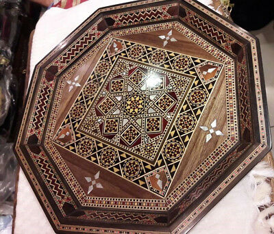 Syrian Vintage Inlaid Wooden Ottoman Style Coffee Tea Snack Octagonal Tray