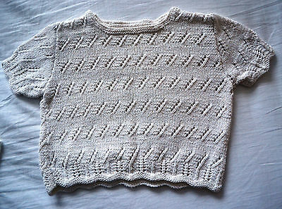 Vintage Cotton Hand Knitted Cream Top Girl (Age 8-12) See Detail
