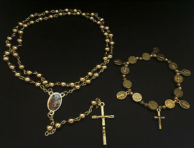 Saint St. Michael & Benedict Gold Rosary Necklace & Bracelet Set Prayer Beads