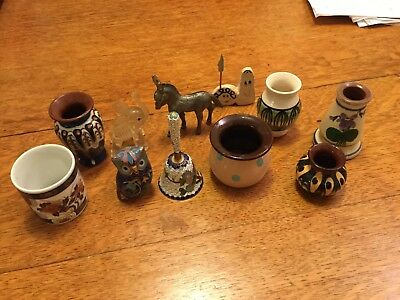 Lot of very small ceramic pots,cloisonné owl ,and bell metal donkey Japanese pot