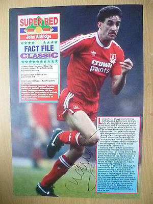 Original Signed Press Cutting- JOHN ALDRIDGE at Liverpool FC (apx. A4 )