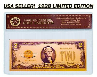 24K .999 Gold 1928 $2 Dollar Gold Cert Banknote with COA (Cert of Authenticity)