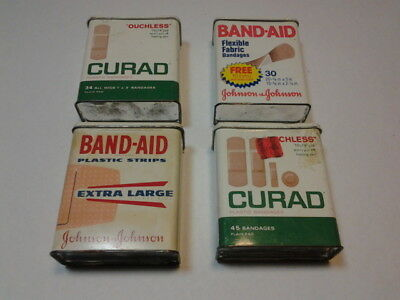 Lot Of 4 Tins Band-Aid Curad First Aid Medical Vintage Adhesive Strips