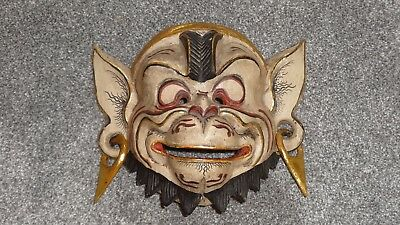 Vintage Traditional Balinese / Indonesian Wooden Carved Monkey Mask - Wall Art!